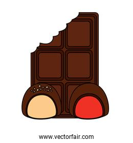 chocolate bar bitten and two candy cocoa dessert