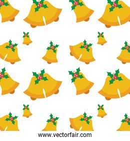 seamless pattern with jingle bells christmas with holly berry