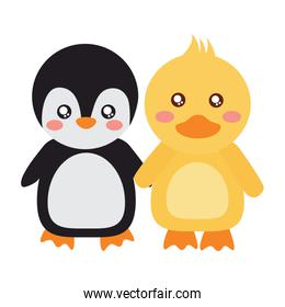 cute animals penguin and duck holding hands