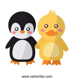 pretty animals penguin and duck holding hands