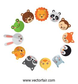 cute animals circle with head wildlife funny