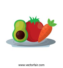 avocado tomato and carrot food in plate
