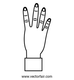 hand showing four count gesture linear style