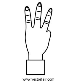 hand showing three fingers gesture
