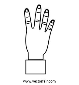 hand showing four count gesture