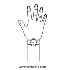 opened hand palm counting fingers number five