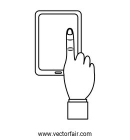 mobile phone with finger touching screen