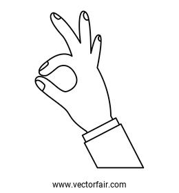 human hand showing ok fingers symbol, line icon