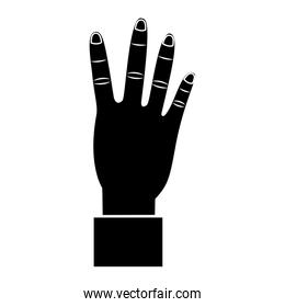 four fingers up hand gesture icon image