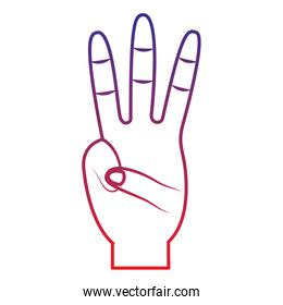 three fingers up hand gesture icon image