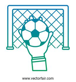 hands with ball with goal in the background football soccer icon