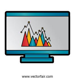 graph chart on computer screen icon image
