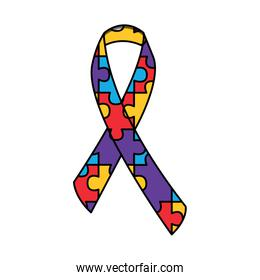 autism awareness ribbon made with jigsaw puzzle