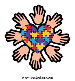 puzzle pieces heart love with hand icon image