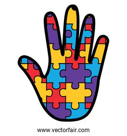 puzzle pieces and hand icon image