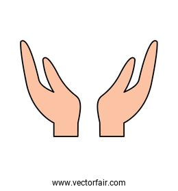 two hands support charity gesture icon