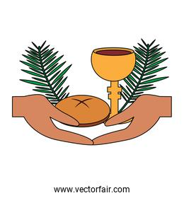 catholic tradition hand bread cup grail and palm branch
