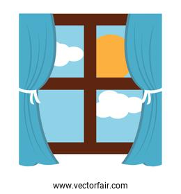 wooden window frame with curtains and sun clouds sky
