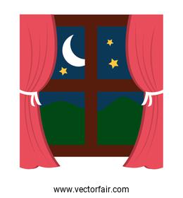 wooden window frame with curtains and mountains moon stars