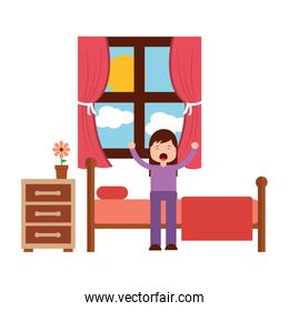 young girl sitting in bed stretching waking up