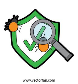 cyber security magnifying glass search for virus bug protection