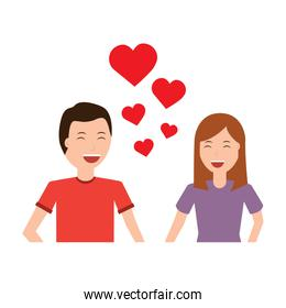 happy couple embraced together relationship and hearts
