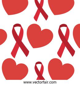 seamless pattern red hearts ribbon medical care
