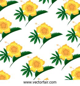 hibiscus flower leaves decoration seamless pattern
