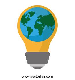 light bulb with planet earth icon ecology and saving energy