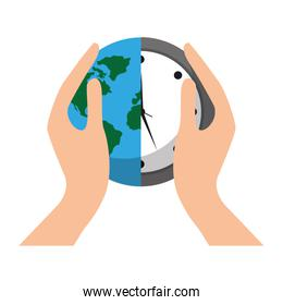 hands holding clock world map protection concept