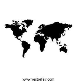 map of the world with countries continent