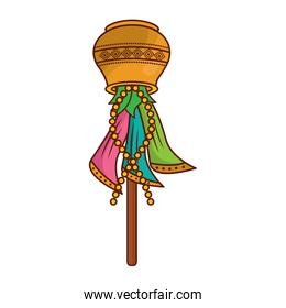 multicolor sari wood stick cover container traditional hindu