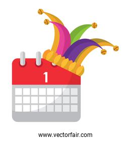jester hat and calendar first day festival