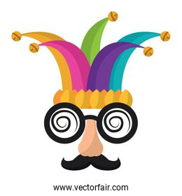 funny mask silly glasses mustache and jester hat fools celebration
