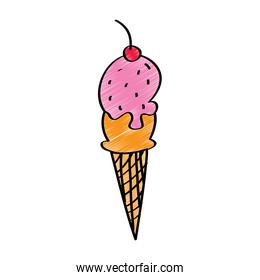 Strawberry ice cream cone with chocolate icing and cherry on top vector illustration