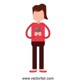 woman standing chatting with smartphone character