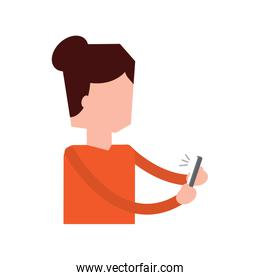portrait woman talking with smartphone device