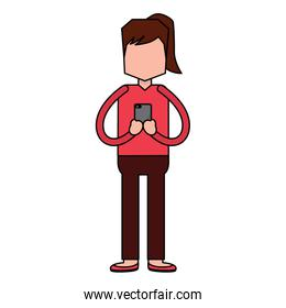 woman standing chatting with smartphone