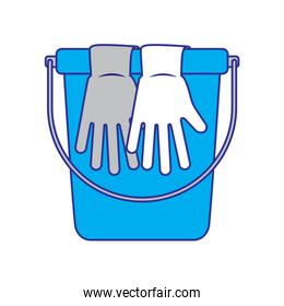 cleaning accessories bucket and gloves