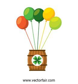 wooden barrel of beer with bunch balloons ornament