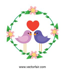 two happy cute bird in love with the heart in floral wreath