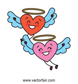 couple in love two happy hearts flying valentines day