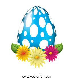 dotted easter egg daisies flower leaves decoration