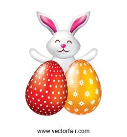 happy cute rabbit with two easter eggs decoration