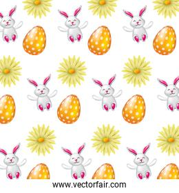 beautiful easter egg rabbit flower daisy decoration pattern