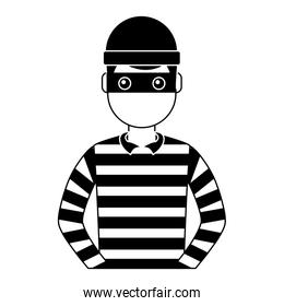 male thief avatar mask cap and striped clothes