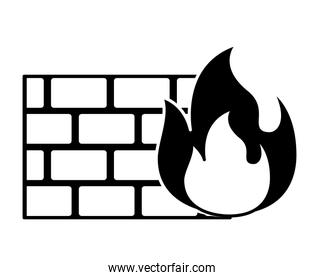 brick wall on fire flame burning