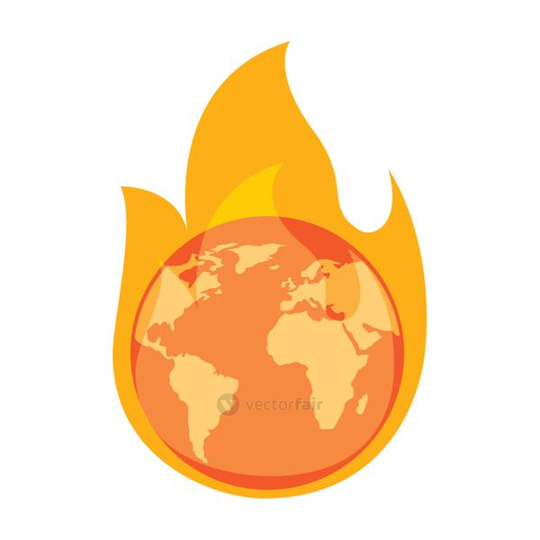 earth on fire planet is burning disaster warning