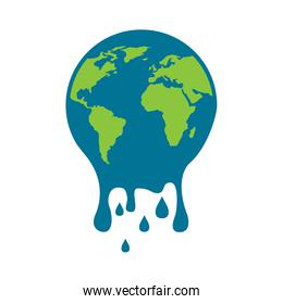 melting globe planet earth warming environment concept
