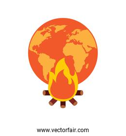 earth world globe with fire burning for climate change disasters